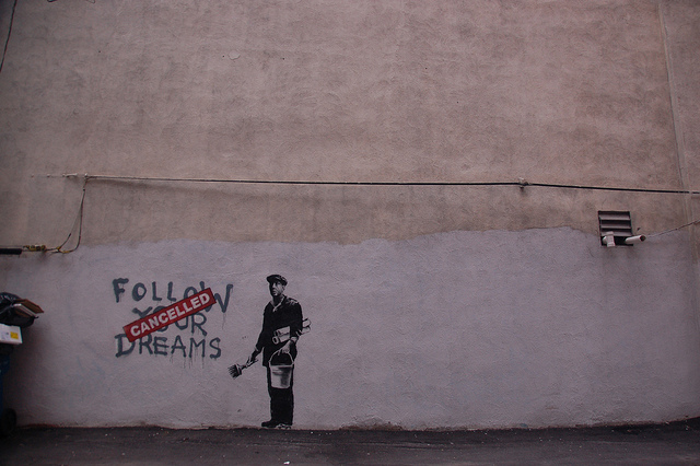 Follow your dramas (cancelled), by Banksy