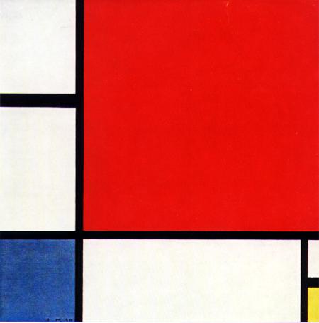 Mondrian. Composición en rojo, azul y amarillo